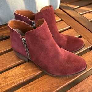 Lucky Brand Red Suede Booties With Zippers